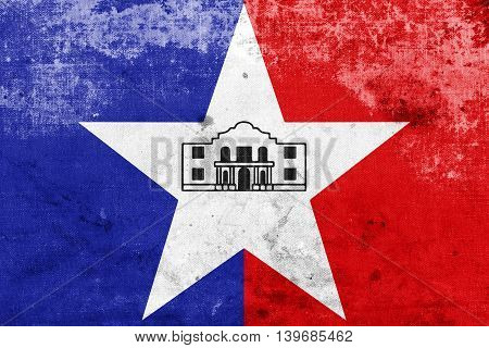 Flag Of San Antonio, Texas, Usa, With A Vintage And Old Look