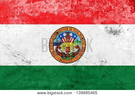 Flag Of San Diego County, California, Usa, With A Vintage And Ol