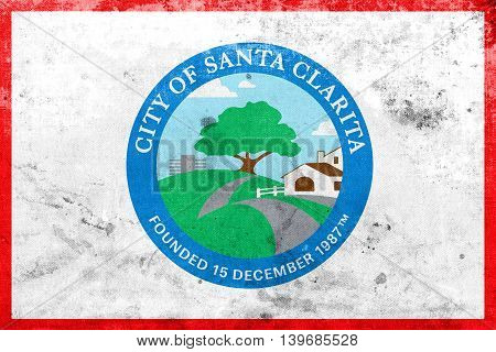 Flag Of Santa Clarita, California, Usa, With A Vintage And Old L