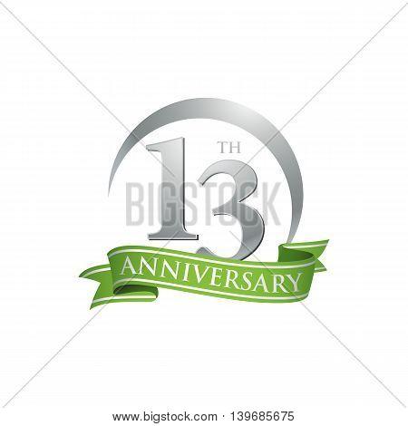 13th anniversary green logo template. Creative design. Business success