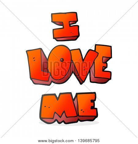 i love me freehand drawn cartoon symbol