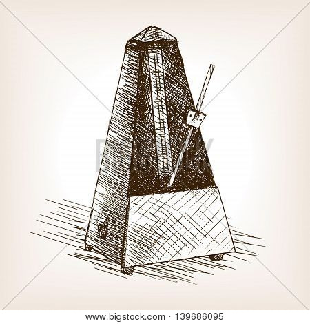 Metronome sketch style vector illustration. Old hand drawn engraving imitation.