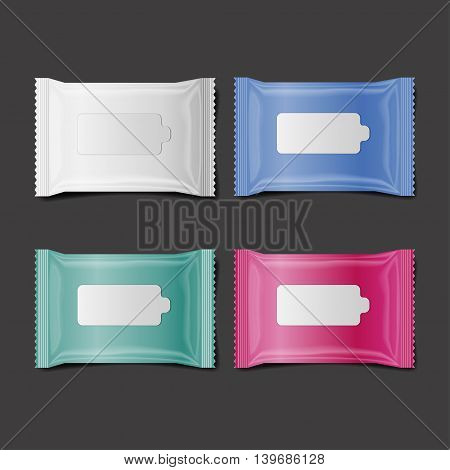 colorful wet wipes package realistic vector isolate 3D set of 4