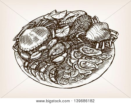 Seafood still life hand drawn sketch style vector illustration. Old hand drawn engraving imitation.