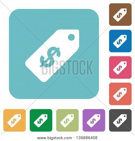 Flat Dollar price label icons on rounded square color backgrounds.