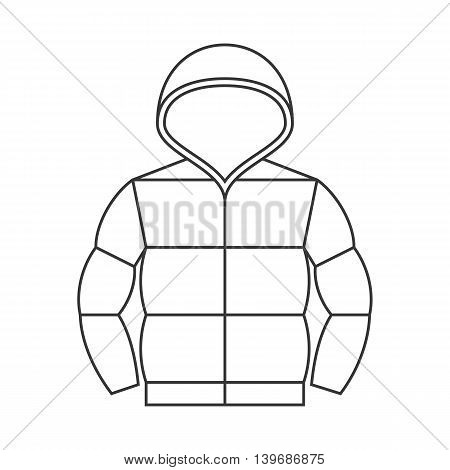Vector duvet jacket with hood,thin line no background