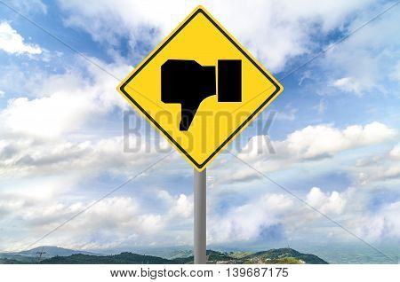 Dislike sign on traffic sign with blue sky