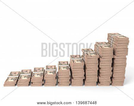 Money Stacks Graph. Ten Dollars.