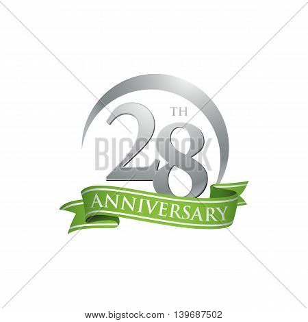 28th anniversary green logo template. Creative design. Business success