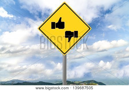 sign on traffic sign with blue sky