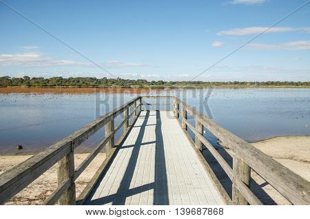 Bibra Lake with wooden jetty in diminishing perspective with native plants and calm waters under a blue sky in Western Australia.