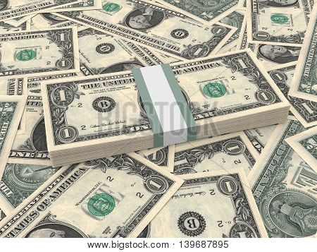 Bundle Of One Dollars Bank Notes On The Background.