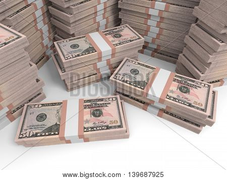 Fifty dollar banknotes background on white background. 3D illustration.