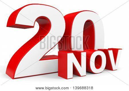 November 20. 3D Text On White Background.
