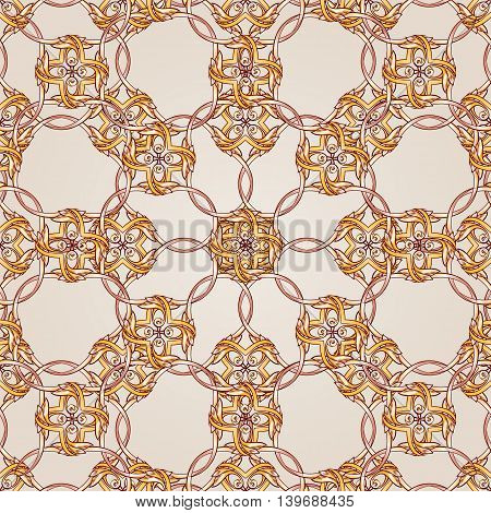 Seamless ornate pattern of brown henna on beige background