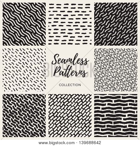 Set of Nine Vector Seamless Black and White Hand Drawn Lines Patterns Collection. Abstract Geometric Background Design