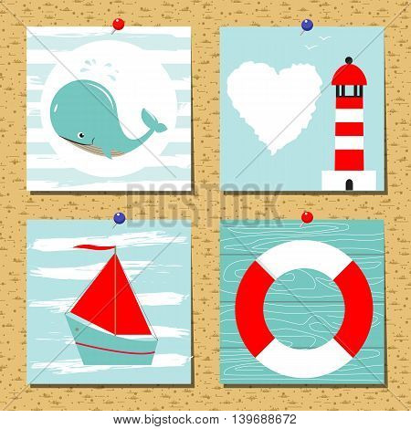 Greeting card set cute retro sea objects collection. Vector flat illustration. Summer cards.