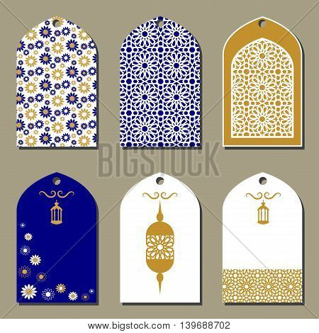 Tags Design in oriental style. Vector labels for gifts and goods.