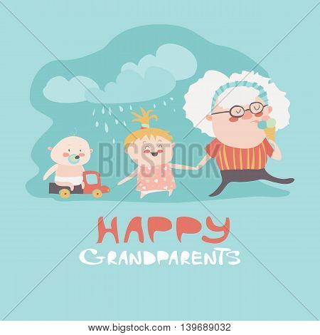 Happy grandmother with their grandchildren. Vector illustration