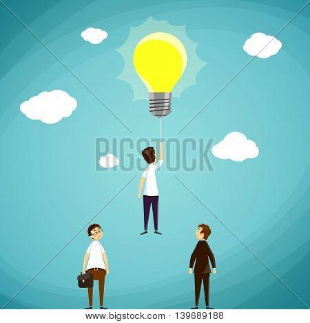 Man flying on light bulb. Stock Vector cartoon illustration.