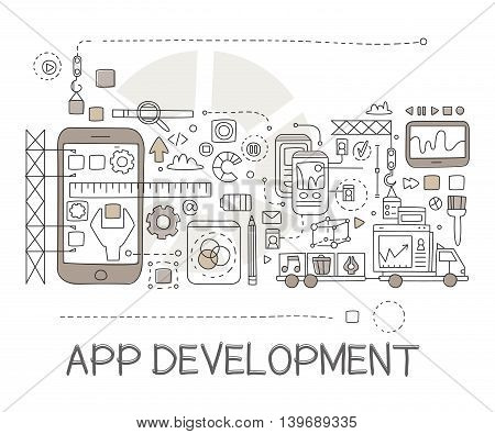 App Development Process Elements Creative Sketch Infographic. Cool Vector Hand Drawn Illustration In Sketch Style.
