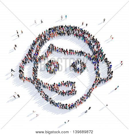 Large and creative group of people gathered together in the shape of consultant advice. 3D illustration, isolated against a white background. 3D-rendering.