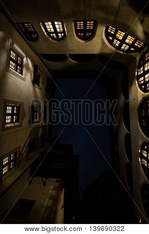 Looking Up from the Ground in Medieval Castle Matzen Courtyard with Surrounding Walls