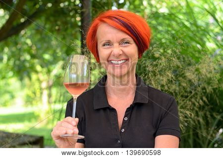 Woman With Wineglass And Red Hair