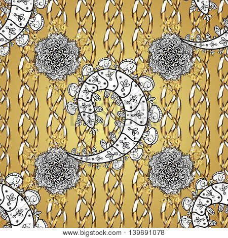 vector texture on light yellow background with white floral doodles