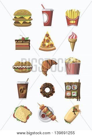 Fast food colorful icons set. Flat design.