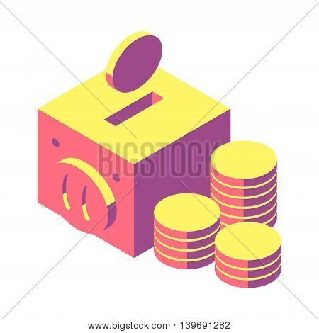 illustration drops piggy bank on white background, vector