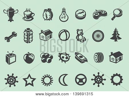 Set of baby icons and signs. Vector illustration.