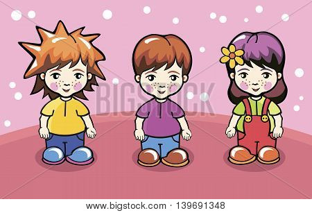 Vector illustration of children. Boys and girl. Cartoon characters.