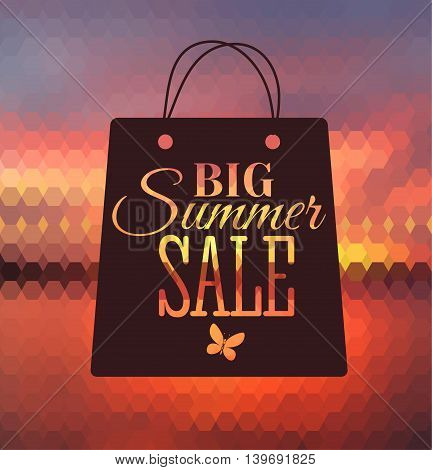 Vector illustration of big sale poster with different element. Natural background with seaside. Badge. Designed text. Template