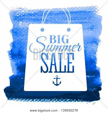 Big summer sale poster on hand drawn watercolor texture. Badge. Vector illustration.