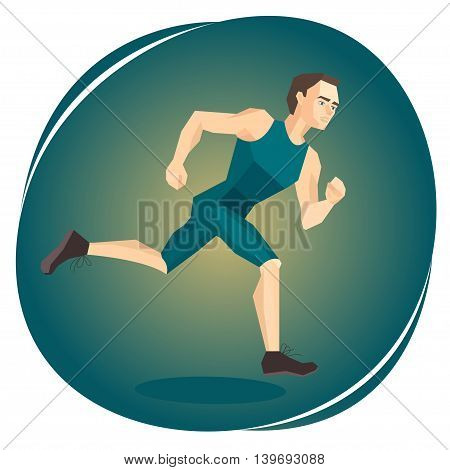 Vector illustration of a running athlete on green backgound