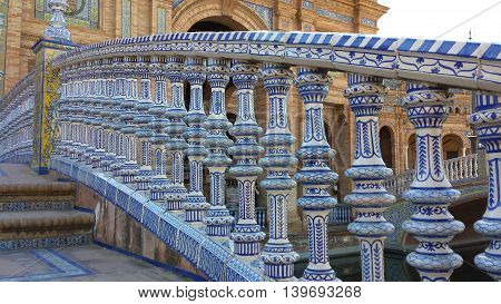 Plaza de Espana tiled bridge, Sevilla, Andalusia, Spain