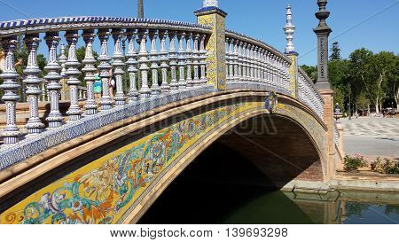 Plaza de Espana tiled bridge, Sevilla, Andalusia, Spain