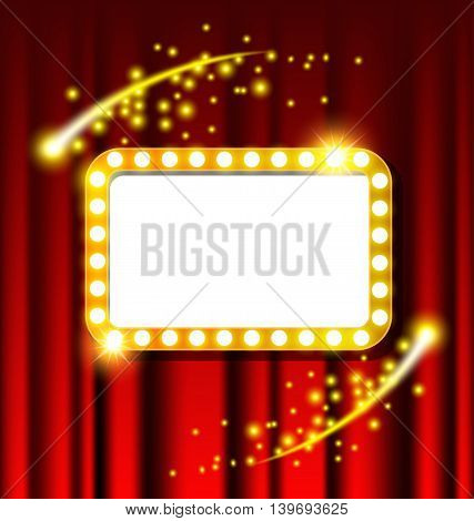 Retro golden light sign and red curtain