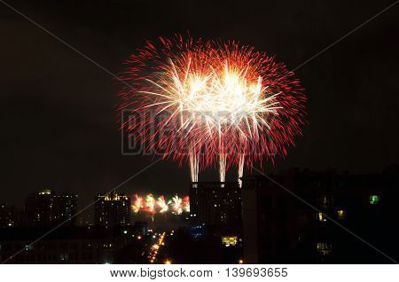 A fireworks display over Century Park located in Pudong area of Shanghai China.