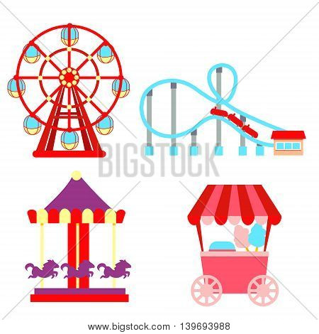 Set icons amusement park isolated on white background. Vector illustration