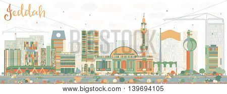 Abstract Jeddah Skyline with Color Buildings. Business Travel and Tourism Concept with Modern Buildings. Image for Presentation Banner Placard and Web Site.