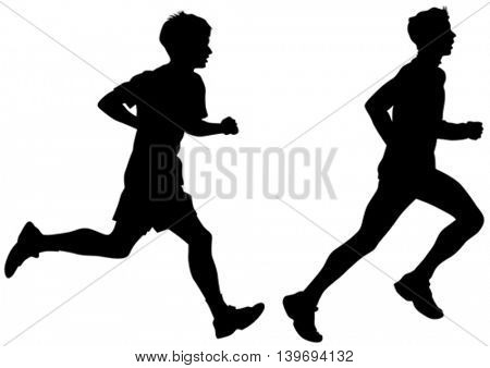 Male athletes running race on white background