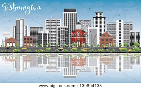 Wilmington Skyline with Gray Buildings, Blue Sky and Reflections. Business Travel and Tourism Concept with Modern Buildings. Image for Presentation Banner Placard and Web Site.