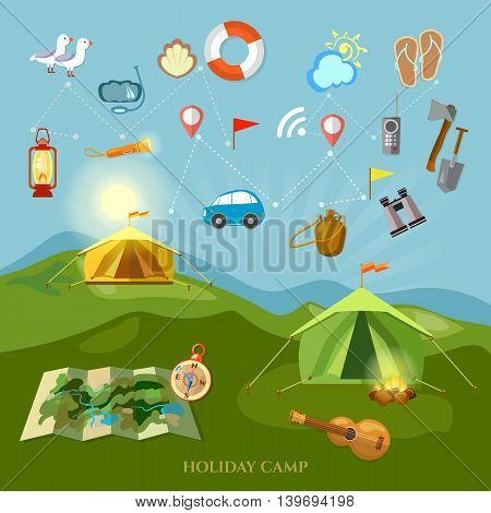 Camping collection outdoor elements hiking travel and tourism road travel and picnic vector illustration