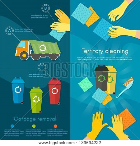 Garbage sorting banner scavenger team sorting waste for recycling separation of waste on garbage bins vector illustration