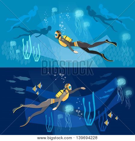 Diving banners underwater people diver silhouettes against sunburst in the ocean vector