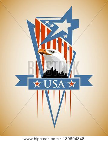 Vector composition with the symbols of the United States. Patriotic label USA.