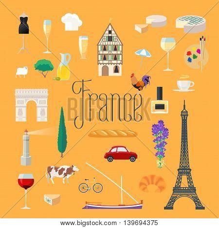 Travel to France vector icons set. French landmarks, Eiffel tower, arch Triumph, Paris architecture buildings, dress, croissant, baguette. Design elements for Visit France poster, postcards, etc