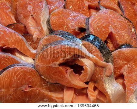 Exposure of the salmon steaks in fish market